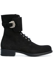 Dorateymur Combat Boots Leather Suede Rubber Black