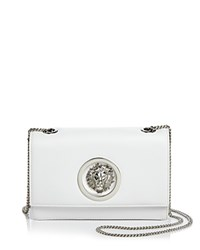 Versus By Versace Lion's Head Medium Leather Crossbody White Silver
