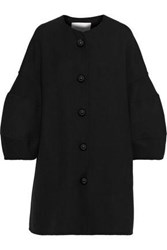 Carolina Herrera Wool And Silk Blend Twill Coat Black