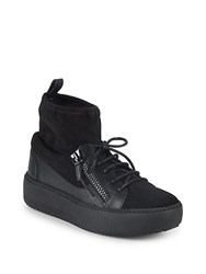 Giuseppe Zanotti Lace Up Sock Lined Sneakers Black