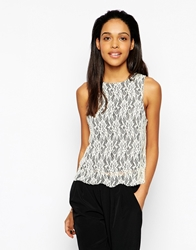 Rock And Religion Simone Lace Top With Raised Back Creamblack