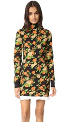 Msgm Floral Mock Neck Sweater Dress Orange Black Multi