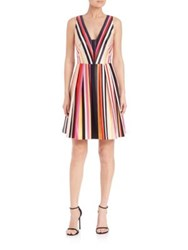 Phoebe Couture V Neck Stripe Dress Dark Red Multi