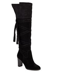 Saks Fifth Avenue Mariann Tasseled Knee High Boots Toast