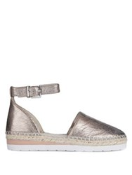 Kenneth Cole Babbott Leather Ankle Strap Espadrilles Dark Rose