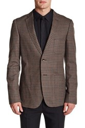Paisley And Gray Brown Plaid Two Button Notch Lapel Slim Fit Blazer Gray