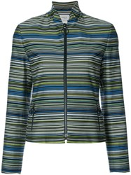 Akris Punto Striped Fitted Jacket Women Cotton Polyester 10 Green