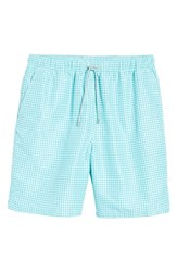 Peter Millar Gingham Style Swim Trunks Watercress
