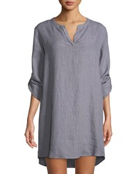 Allen Allen Linen Roll Sleeve Tunic Dress Gray
