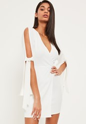Missguided White Plunge Open Tie Sleeve Wrap Dress