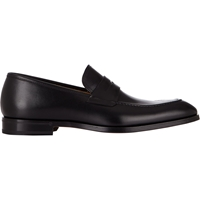 Barneys New York Apron Toe Penny Loafers Black