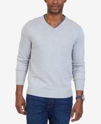 Nautica Men's Big And Tall V Neck Sweater Grey Heather