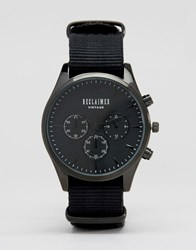 Reclaimed Vintage Chronograph Canvas Watch In Black Black