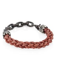 King Baby Studio 0.925 Sterling Silver Chain And Leather Lanyard Bracelet