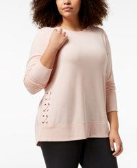 Ideology Plus Size Lace Up Sweatshirt Created For Macy's Pure Pink Heather