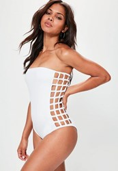 Missguided White Laser Cut Bandeau Swimsuit