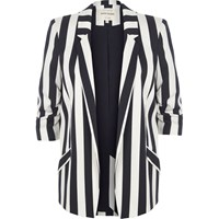 River Island White And Navy Stripe Ruched Sleeve Blazer