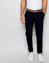 Vito Super Skinny Cotton Suit Trousers Navy