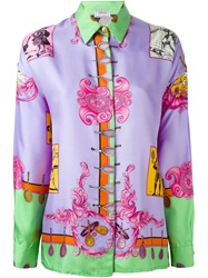Versace Vintage Baroque Tennis Print Shirt Pink And Purple