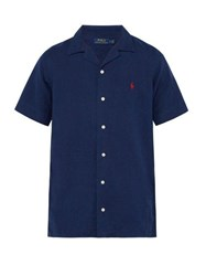 Polo Ralph Lauren Logo Embroidered Linen Blend Shirt Navy