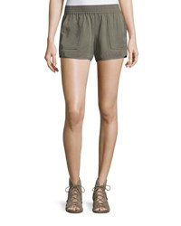 Joie Beso Smocked Linen Shorts Green