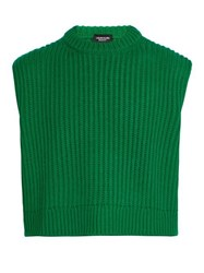 Calvin Klein 205W39nyc Cropped Ribbed Knit Sleeveless Sweater Green