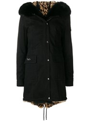 Philipp Plein Fur Trim Parka Black