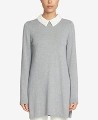 Cece Embellished Collared Sweater Light Heather Grey