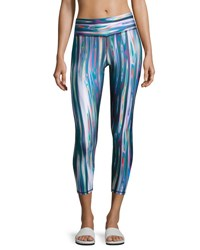 Terez Liquid Metal Tall Band Performance Capri Leggings Multi Pattern