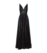 La Mania Sequin Embellished Ball Gown Black