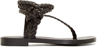 Haider Ackermann Black Woven Leather Sandals