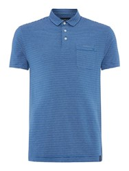 Criminal Jones Stripe Polo Top Blue