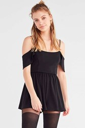 Urban Outfitters Uo Cold Shoulder Crepe Romper Black