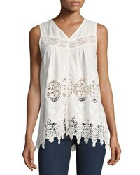 Philosophy Sleeveless Lace Inset Button Front Tank White
