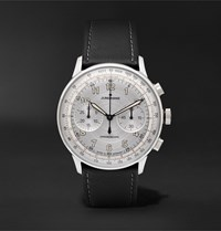Junghans Meister Telemeter Chronoscope 40Mm Stainless Steel And Leather Watch Ref. No. 027 3380.00 Silver