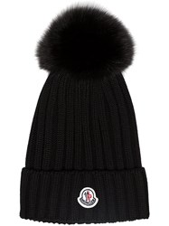 Moncler Black Wool Beanie Hat With Pom Pom