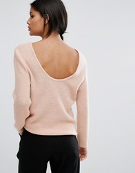 Selected Femme Deep Back Knit Top Mahogany Rose Pink