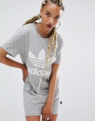 Adidas Originals X Pharrell Williams Printed T Shirt Dress Mgh And Black Hu Aop Multi