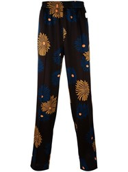 Msgm Floral Print Trousers Black