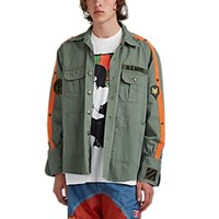 Greg Lauren Distressed Striped Cotton Army Shirt Olive