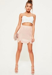 Missguided Pink Mesh A Line Double Split Mini Skirt