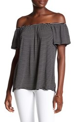 Socialite Stripe Off The Shoulder Blouse Black