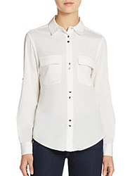 Ivanka Trump Woven Button Front Top Ivory