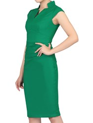 Jolie Moi High Collar Ruched Bodycon Dress Green