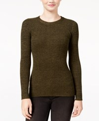 It's Our Time Juniors' Marled Fine Gauge Zip Back Sweater Thyme Green Green