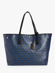 Liberty London Iphis Print Large Canvas Marlborough Tote Bag Dark Blue