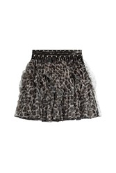 Just Cavalli Ruffled Animal Print Mini Skirt With Stud Trim Gr. 38