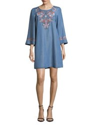 Context Floral Embroidery Shift Dress Blue