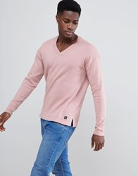 Tom Tailor Knitted Jumper In Deep V Neck Pink