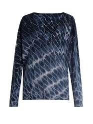Raquel Allegra Distressed Tie Dye Wool And Cashmere Blend Sweater Blue Multi